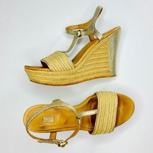 UGG • Fitchie Soft Gold & Jute T Strap Wedges